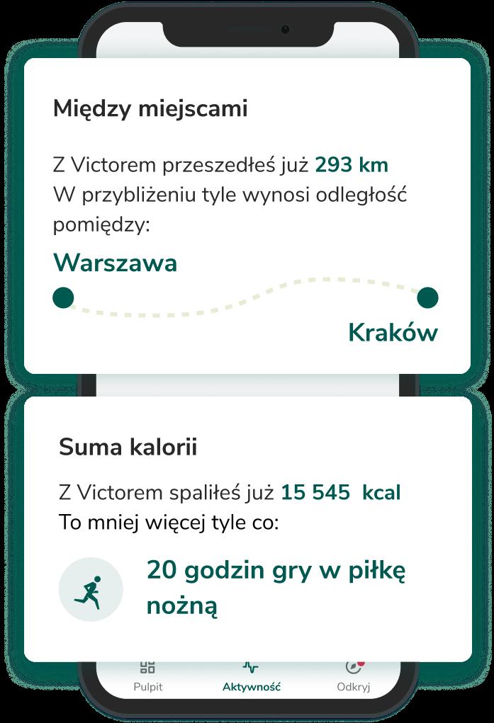 Aplikacja mobilna Victor przebyte kilometry oraz spalone kalorie