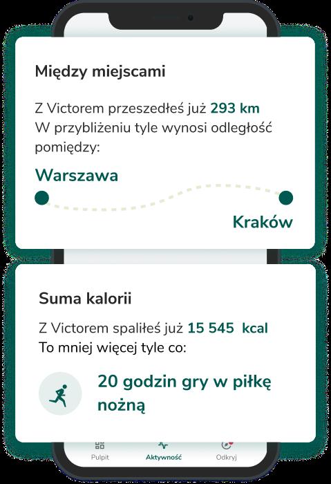 Aplikacja Victor - kalorie i przebyte odległości