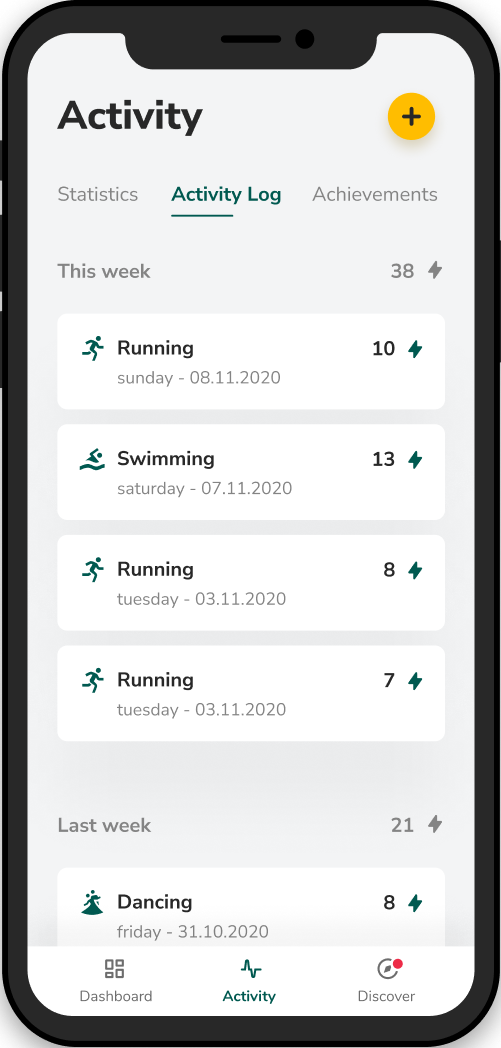 Victor mobile application - Activity tab