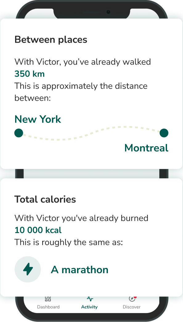 Victor mobile application - distance and calories