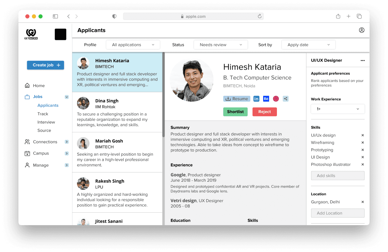 GetWork Dashboard for employers