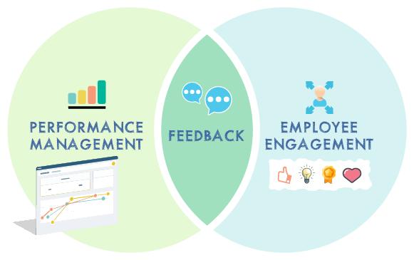 Performance management and employee engagement venn diagram