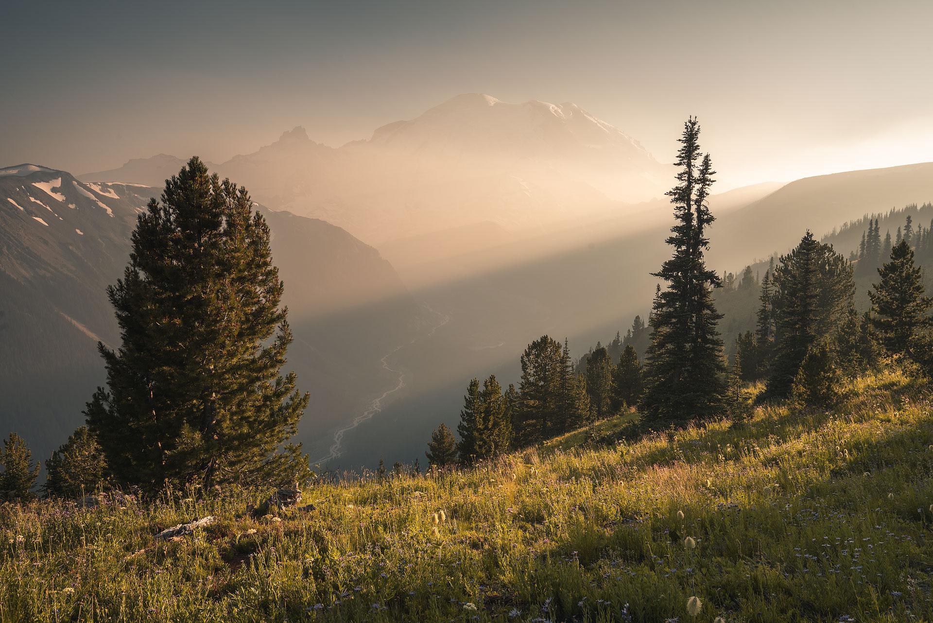 Golden hour shot of a mountain scene