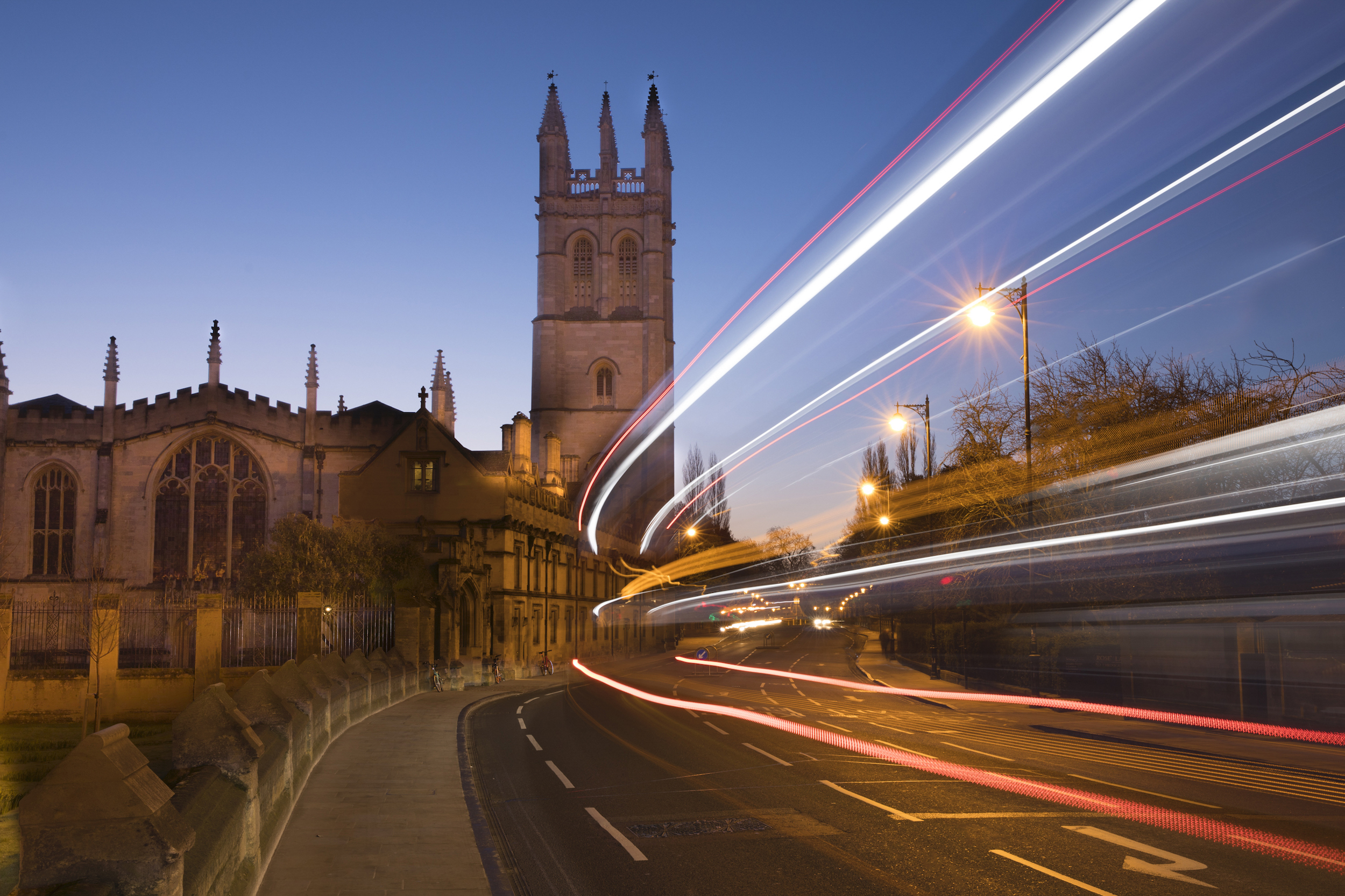 Light trails in Oxford, technique created by long exposure