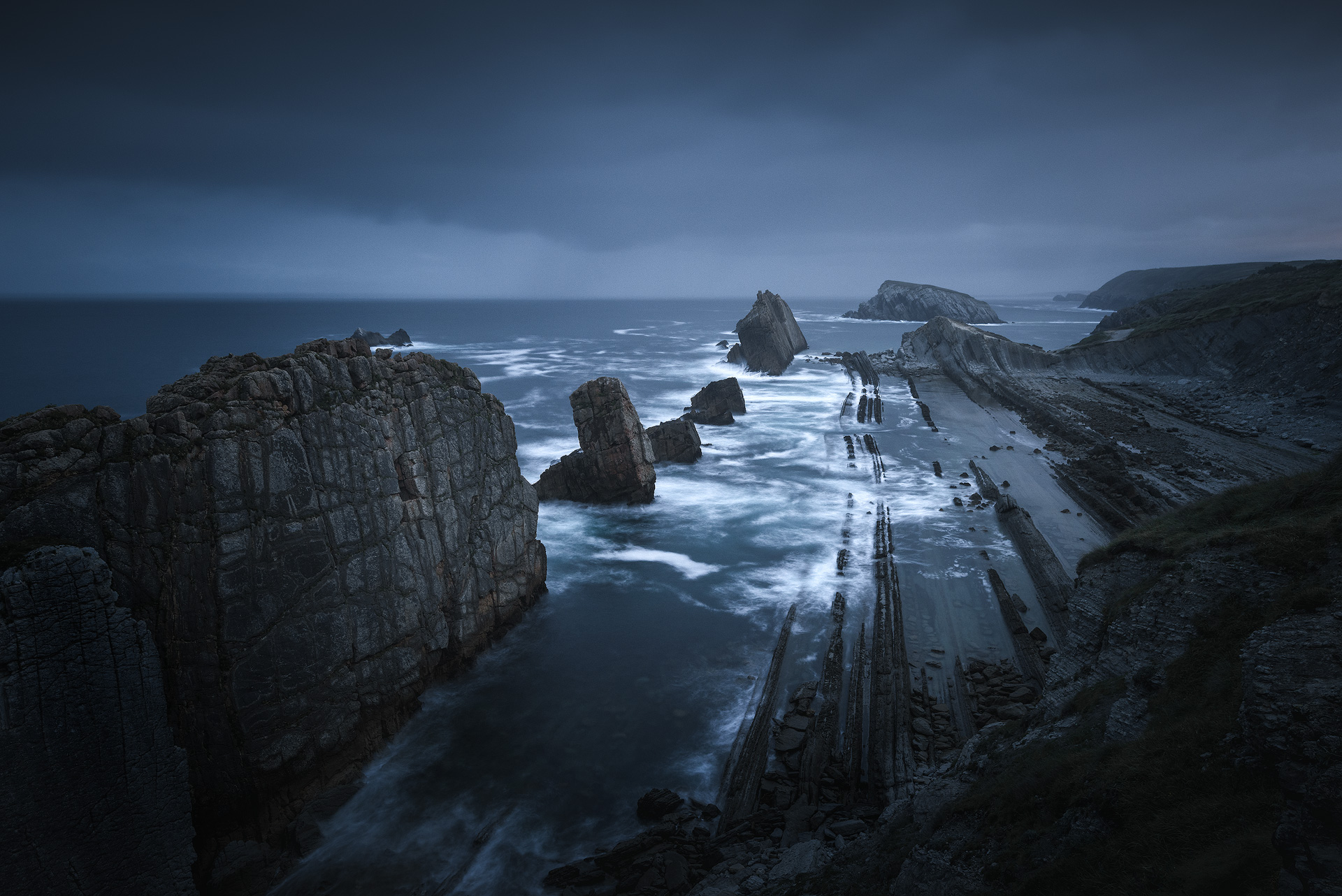 Moody rocky seascape from northern Spain