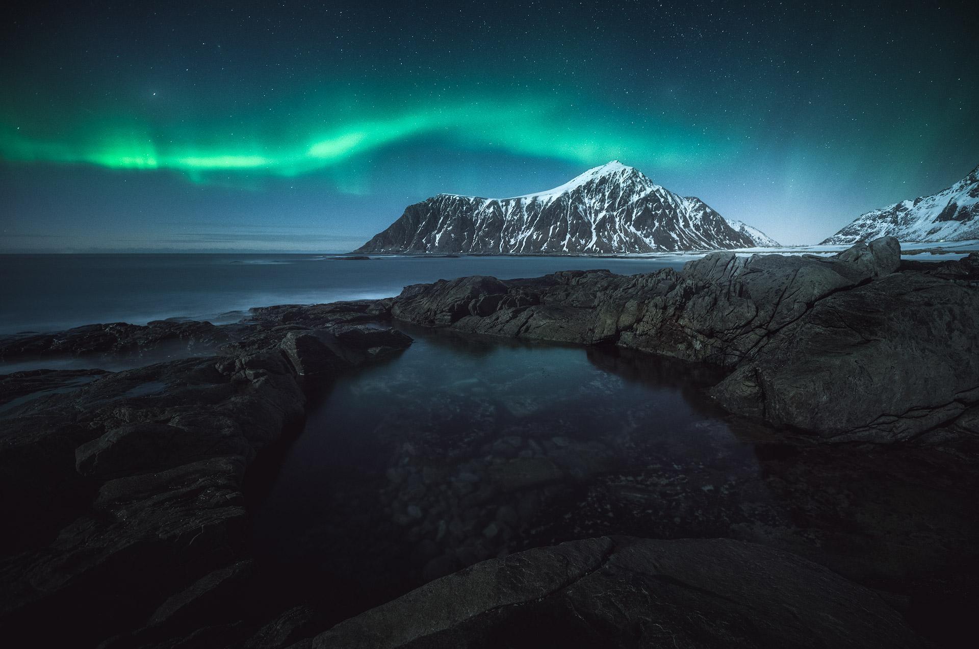 Aurora borealis over Lofoten, Norway