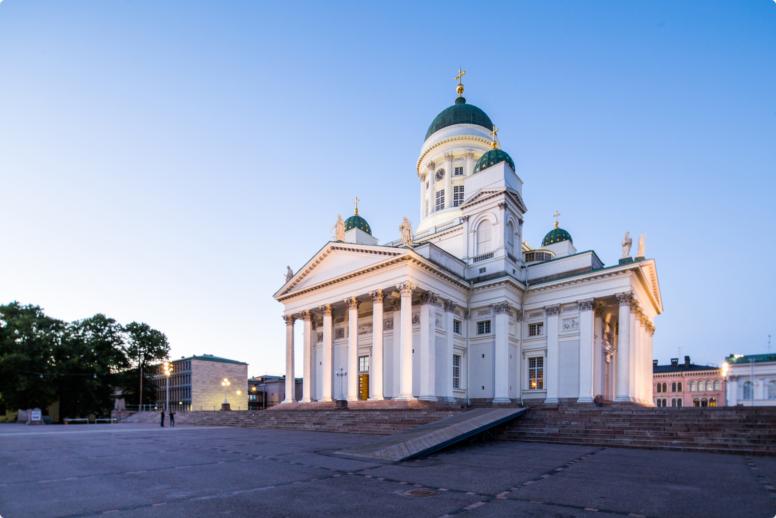 Helsinki cathedral at twilight with corrected perspective