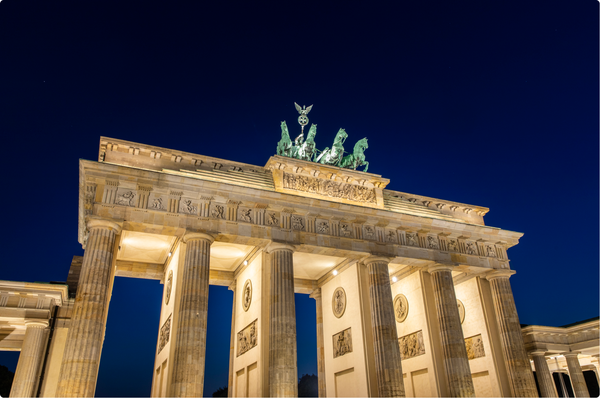 Brandenburg Gate, Berlin, photographed during the Blue Hour