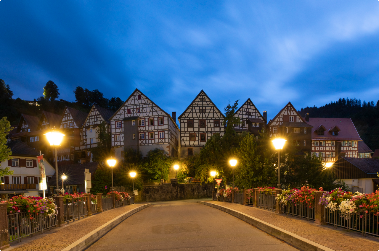 Blue hour in a German town