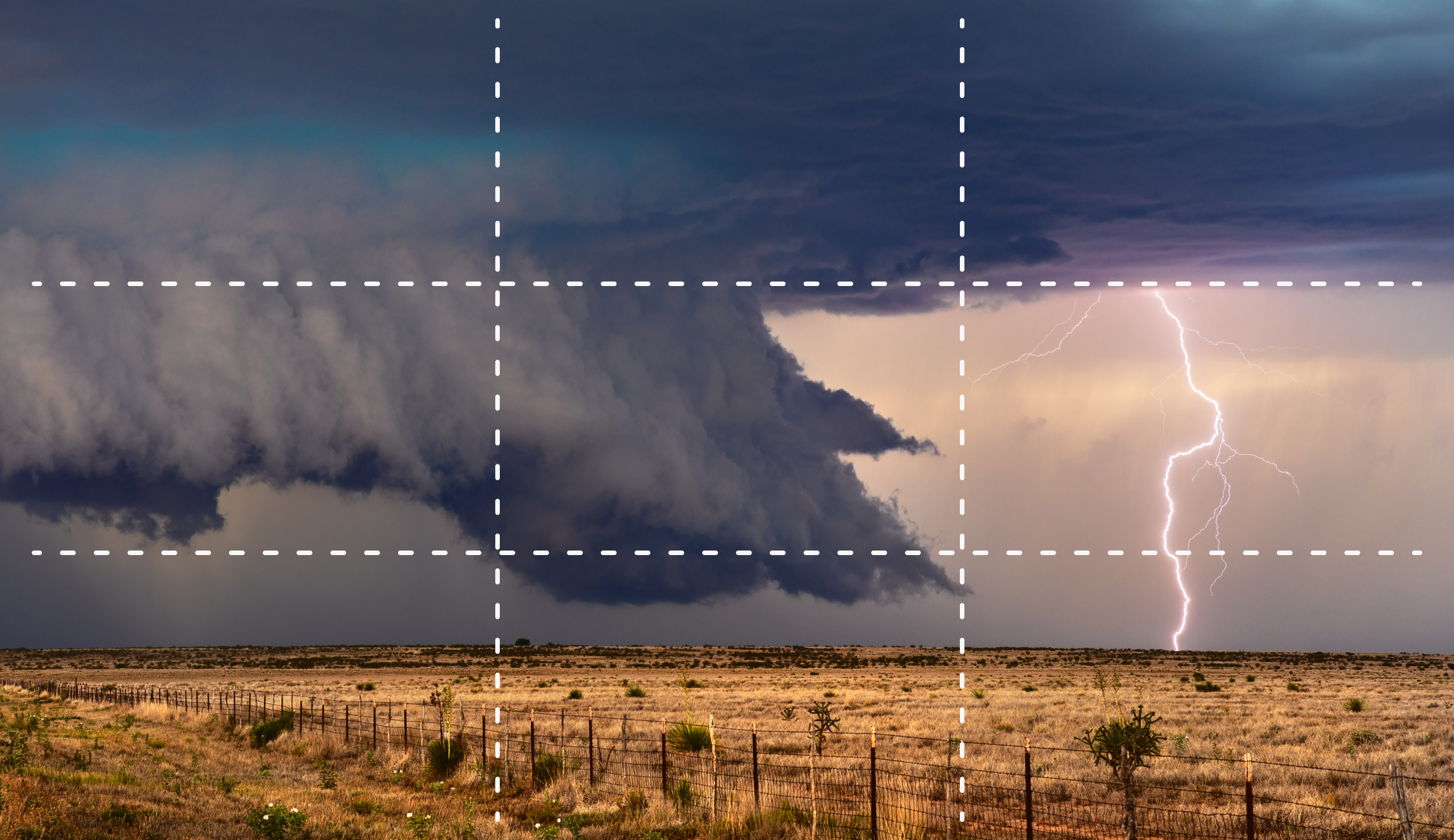 Image of a storm with the rule of thirds grid overlay