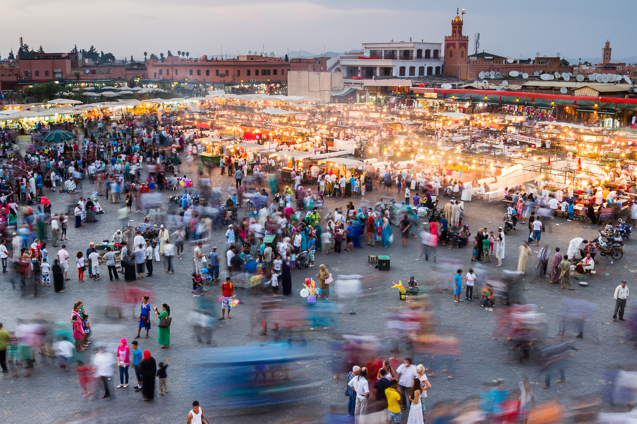 Aerial view of the main square in Marrakech, Morocco.