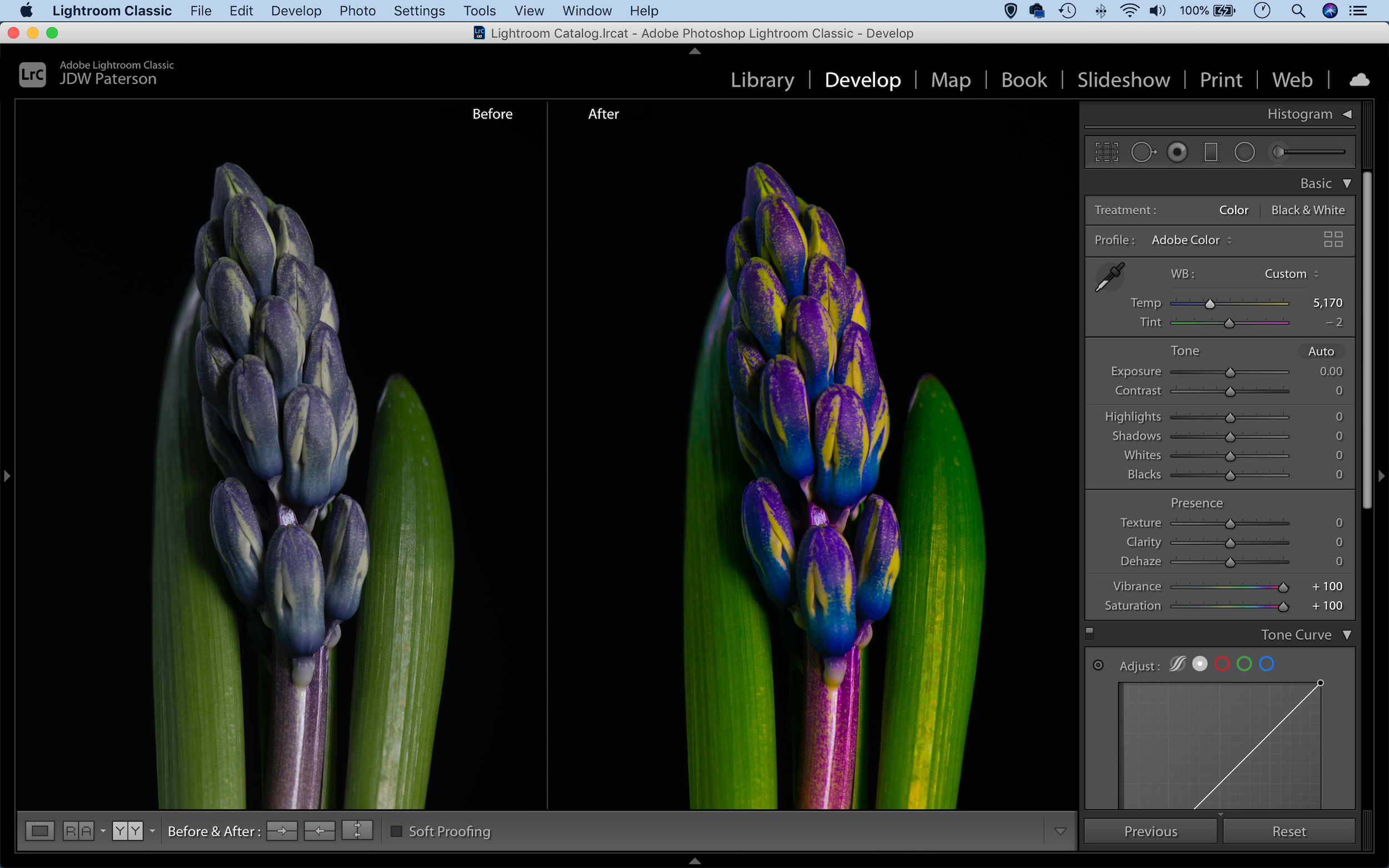 Screenshot showing a before and after comparison in Lightroom