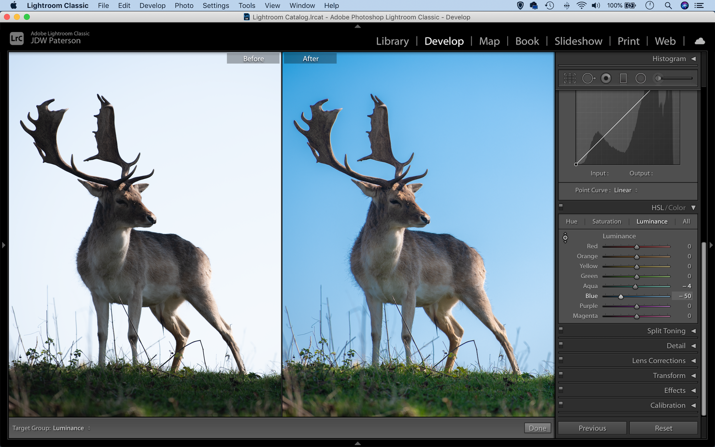 The HSL panel in Adobe Lightroom with a before and after comparison
