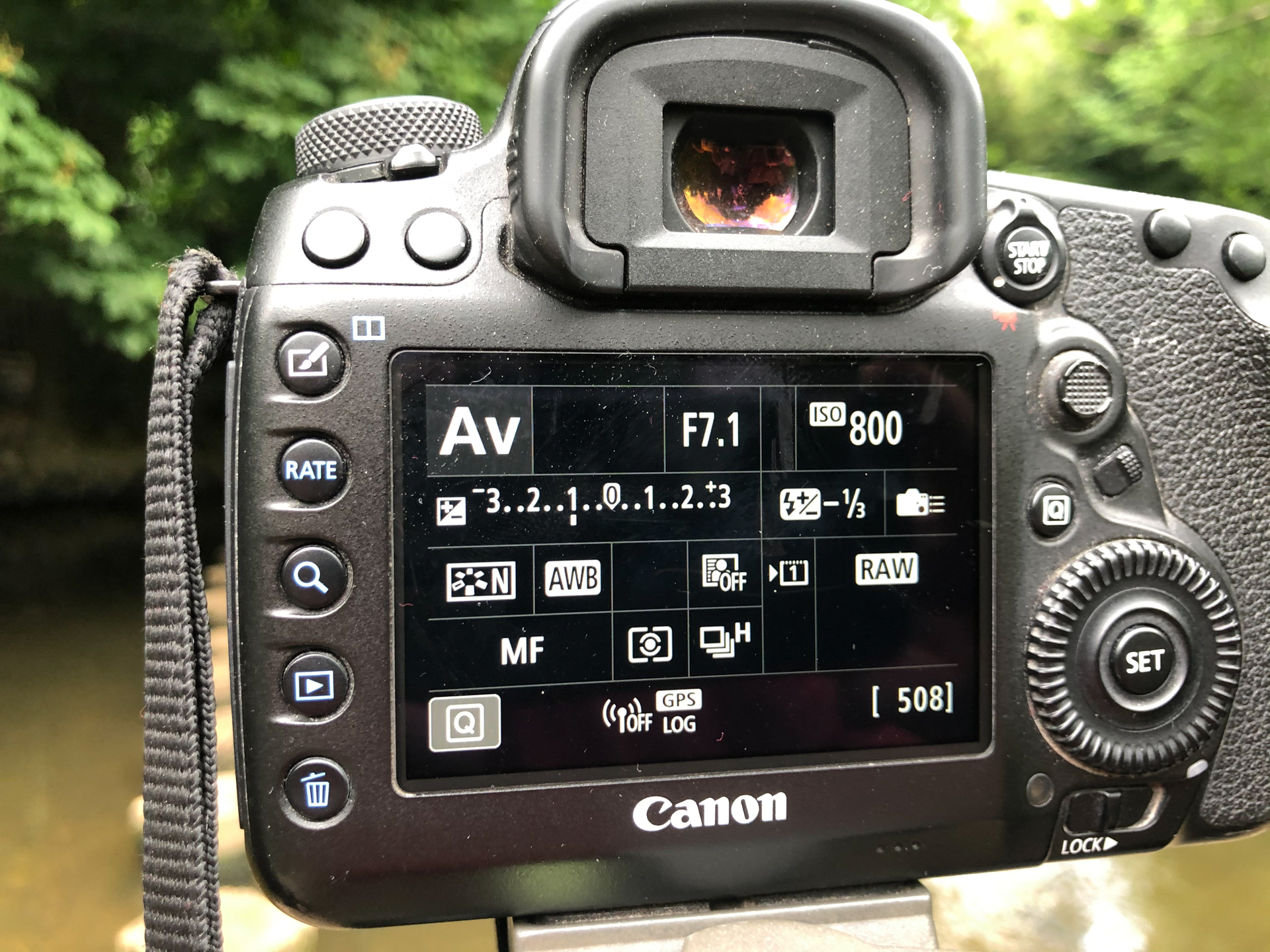 View of an LCD screen on a DSLR showing camera settings