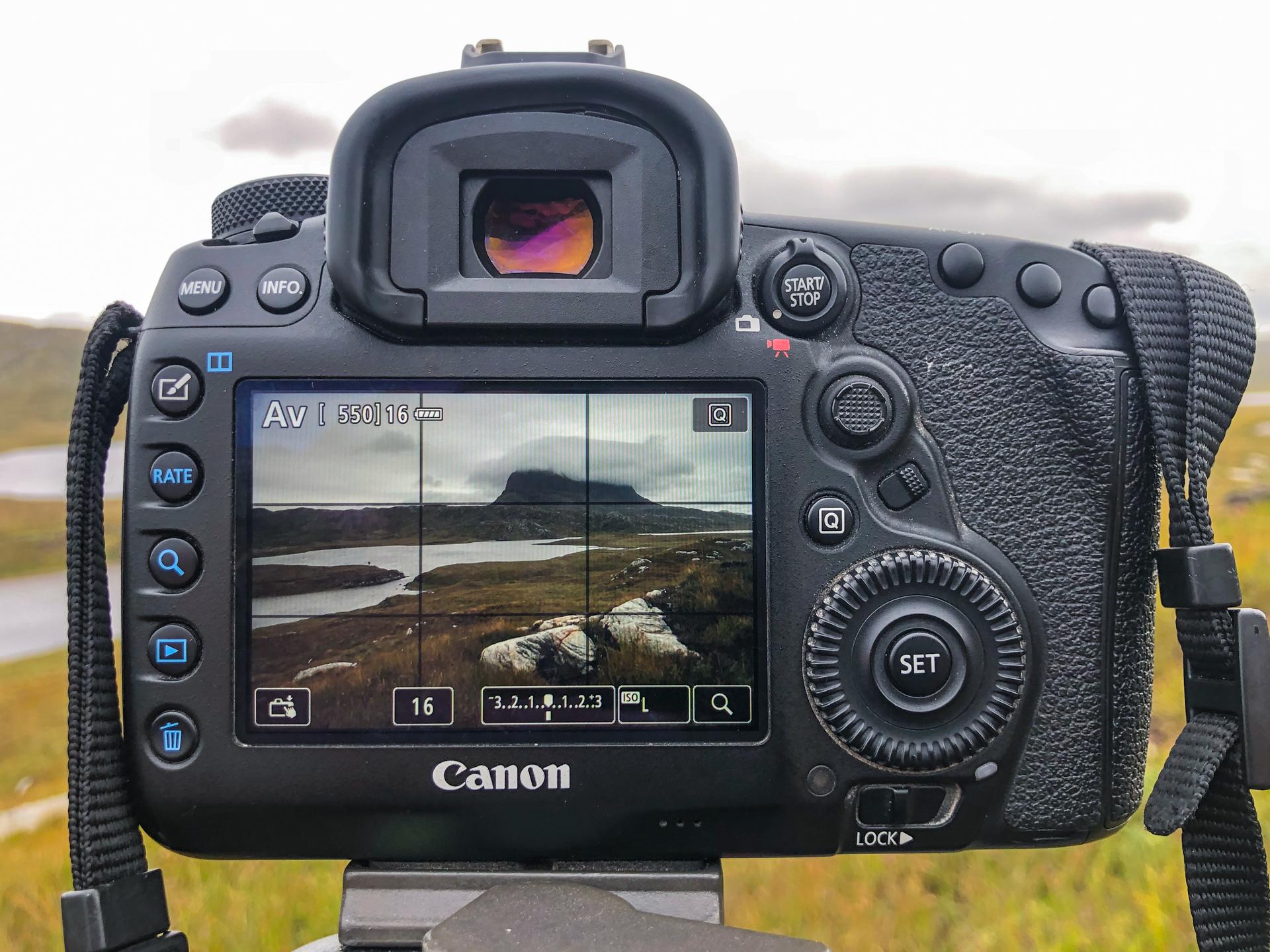A landscape scene as seen through an LCD screen on a DSLR