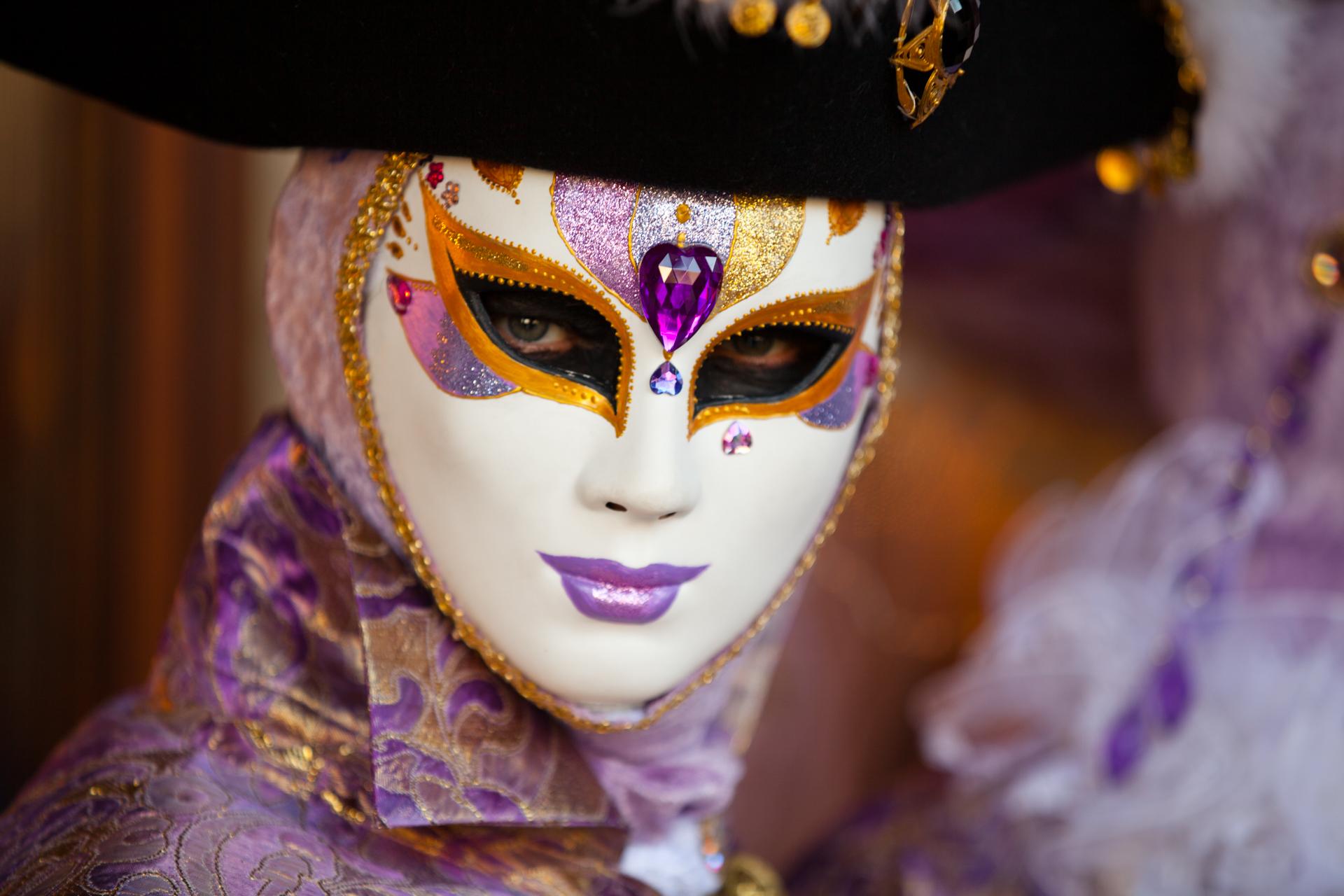 A reveller at Venice carnival