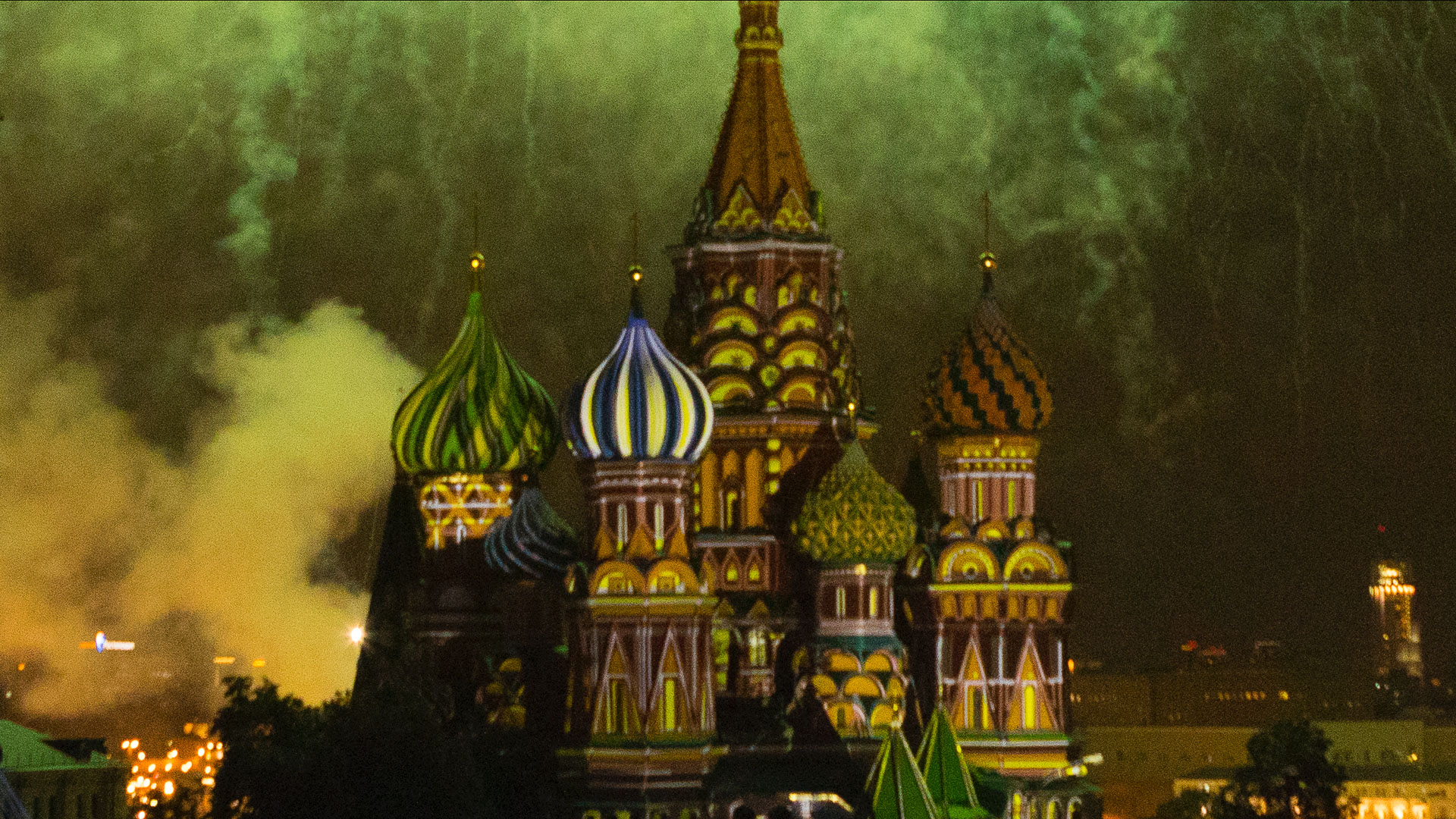 St Basil's Cathedral, Moscow, at night photographed with an ISO setting of 5400