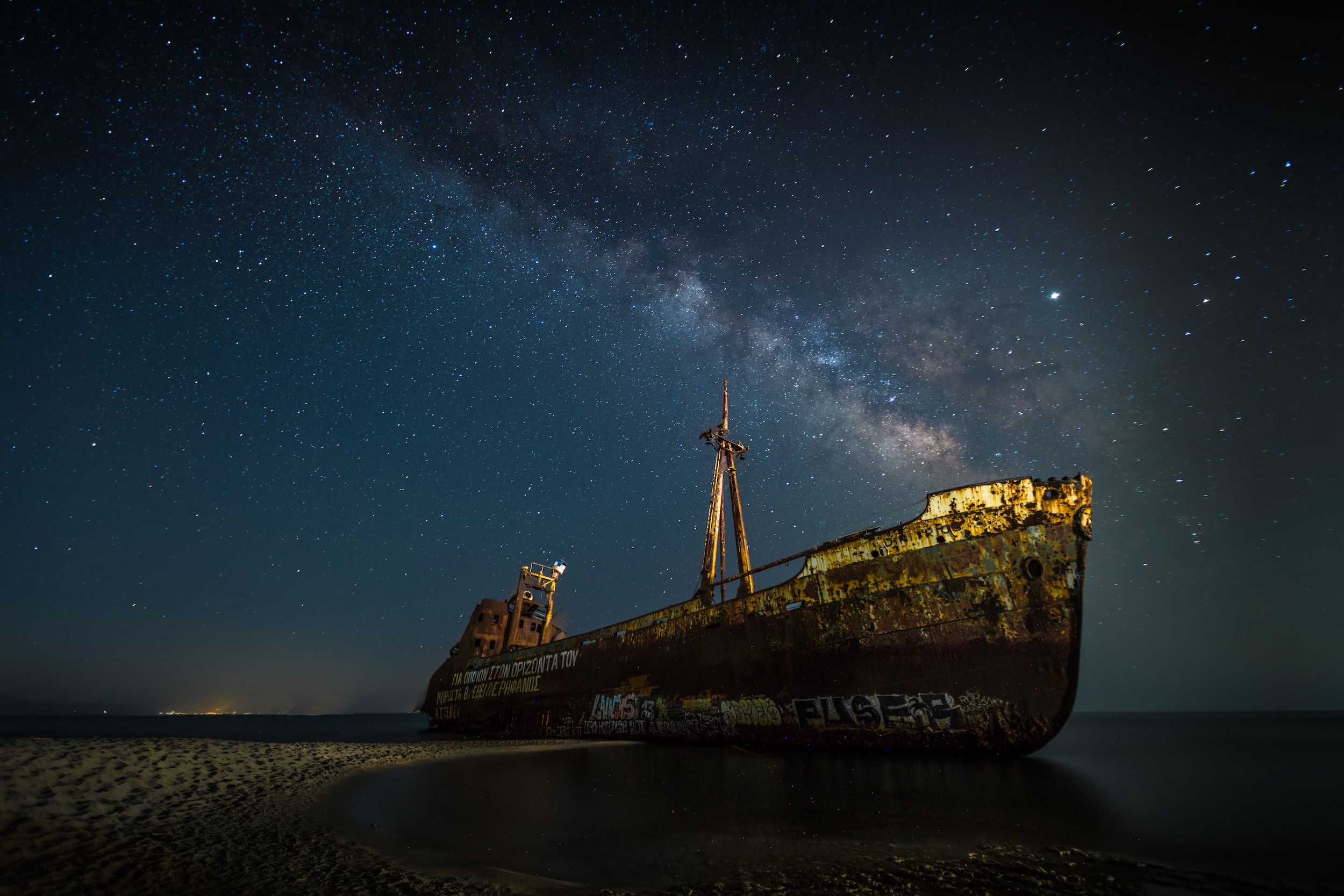 Milky Way over the shipwreck of the 'Dimitrios' in the Greek Peloponnese.