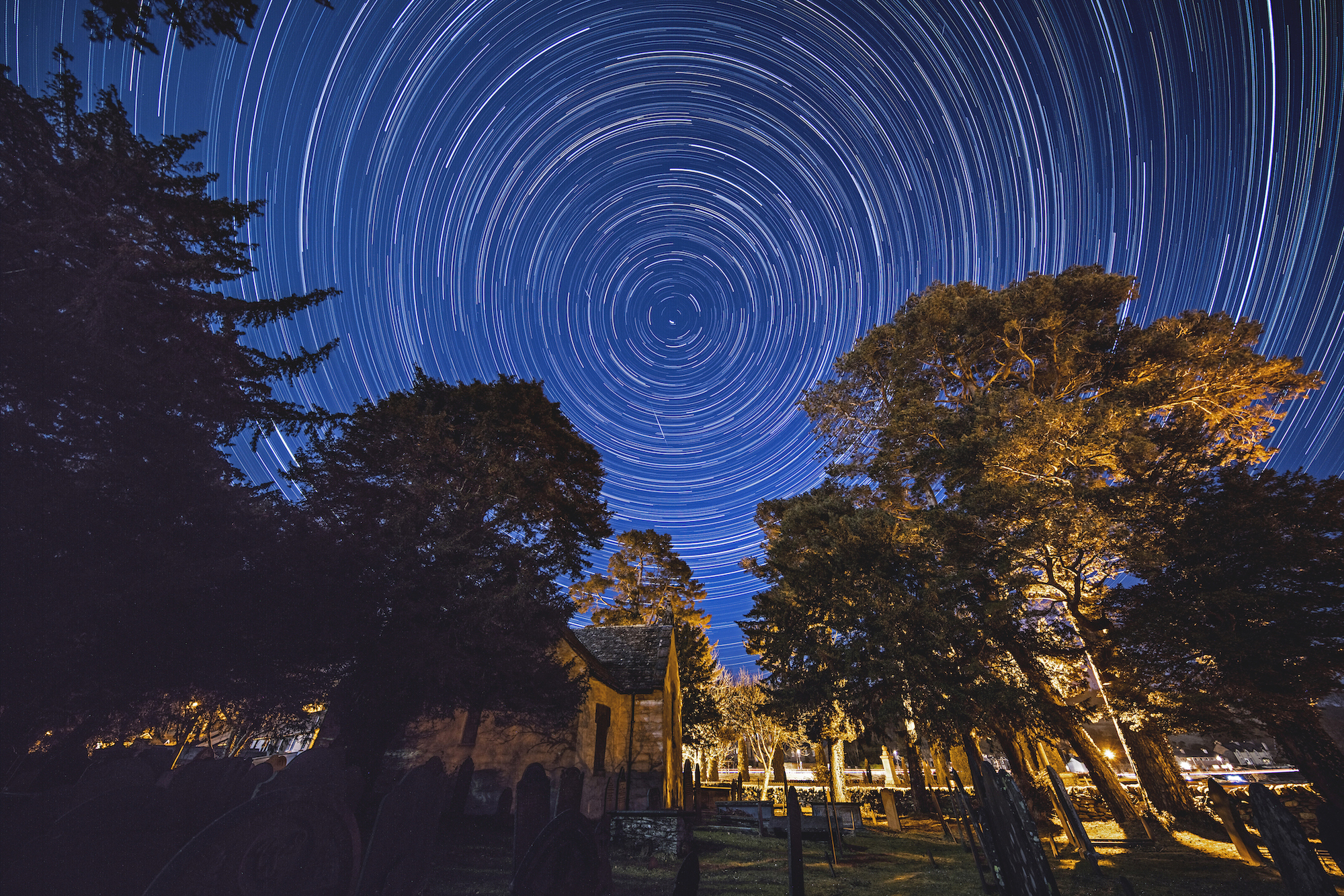 Star trails in the Snowdonia national park, Wales.