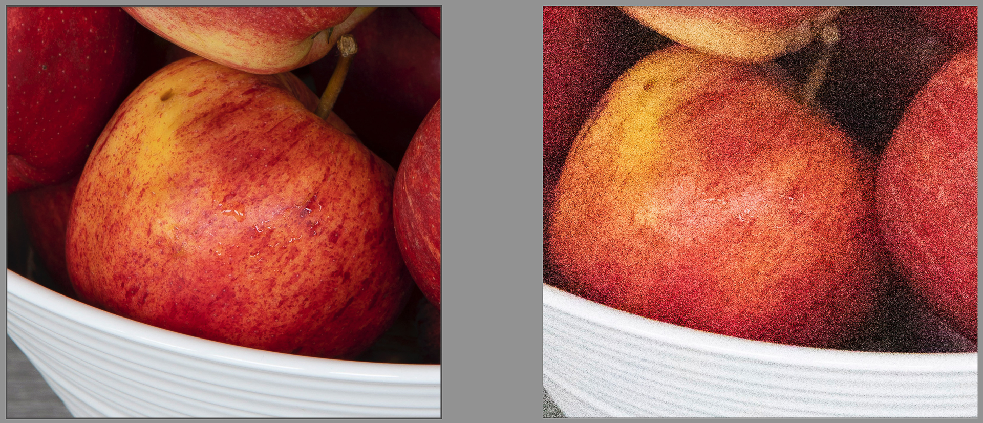 Two images of an apple, one photographed at ISO 100 and the other at ISO 102400