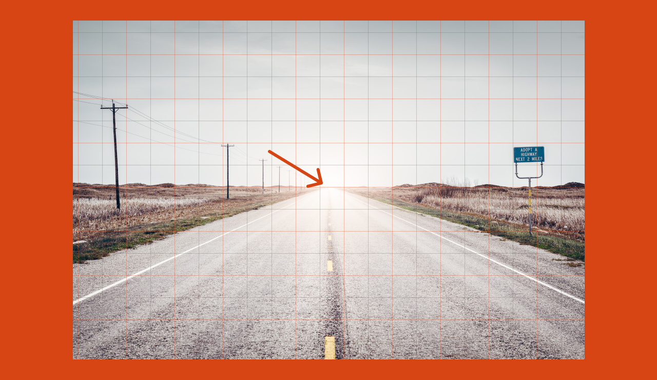 Image of a road with a grid overlaid used to level the horizon of the image