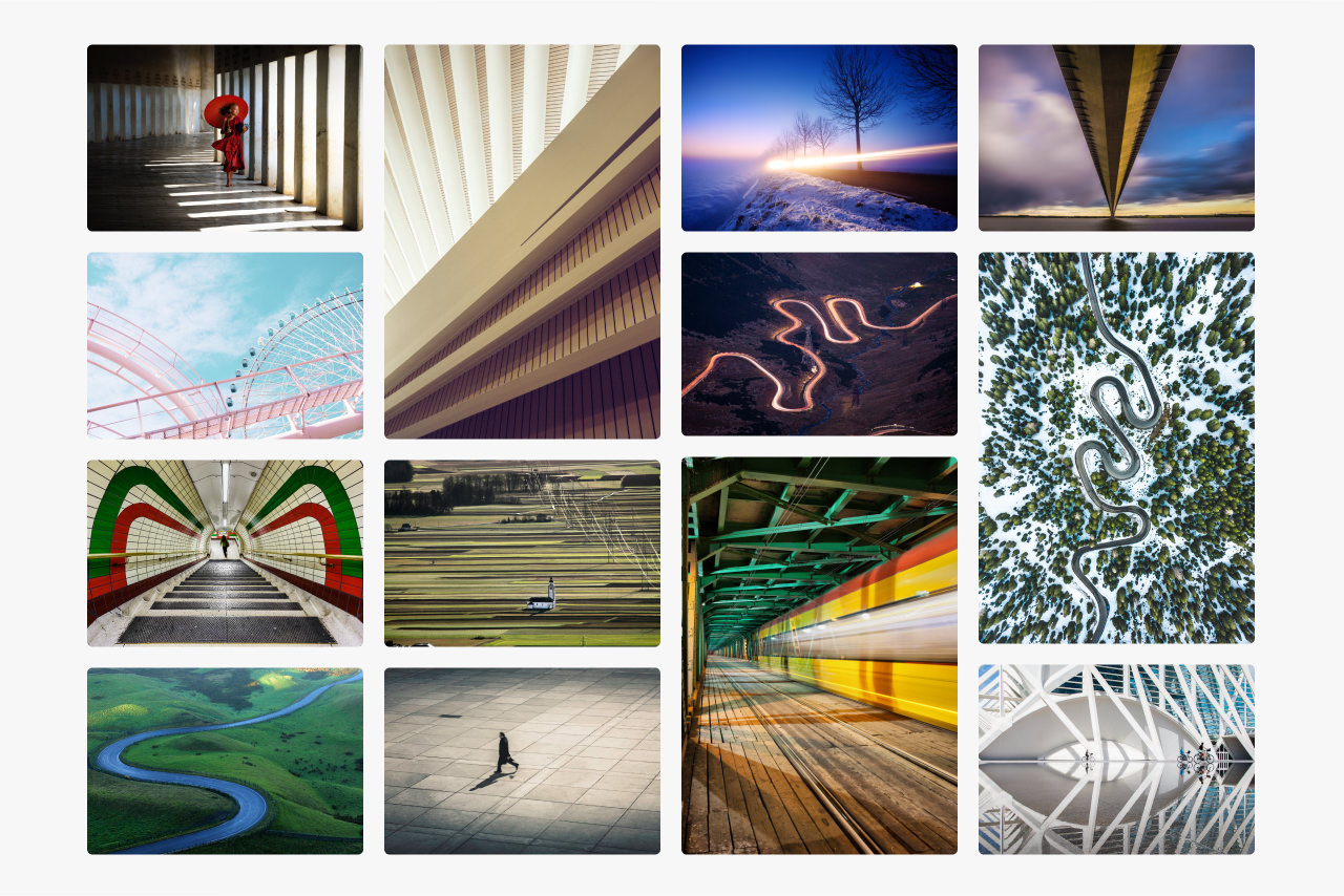 Montage of images showing how line is used in composition