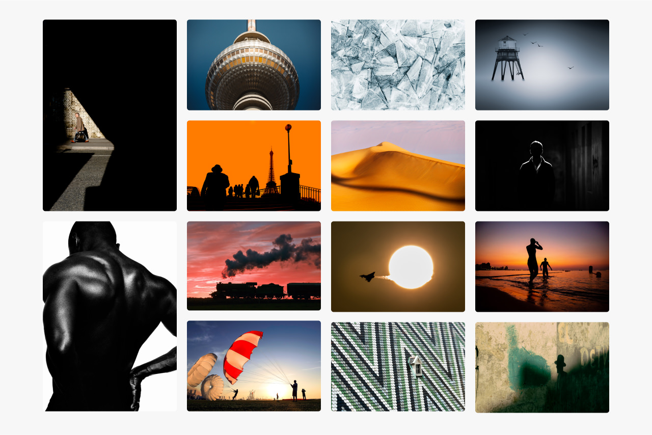 Montage of images showing how shape and form is used in image composition