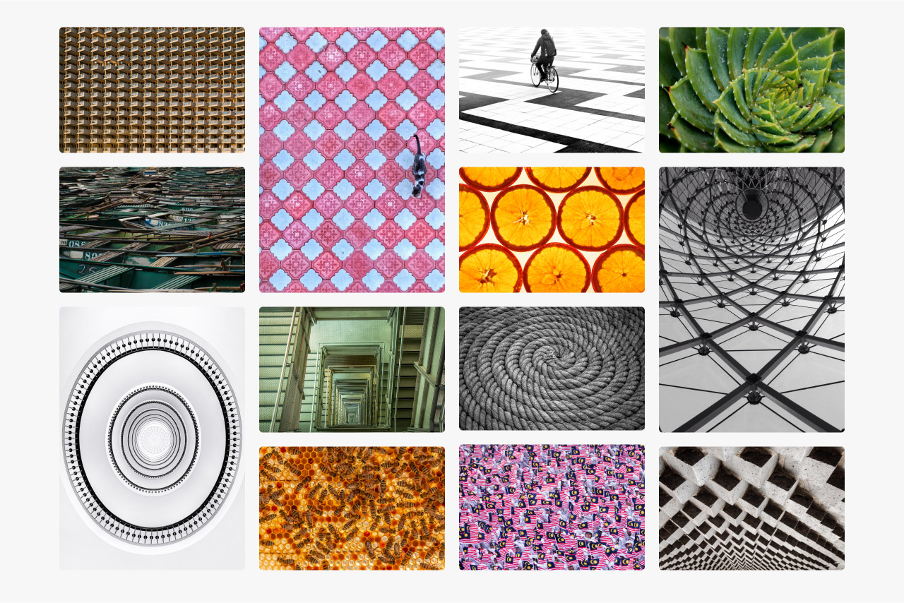 Montage of images showing how pattern can be used in photography