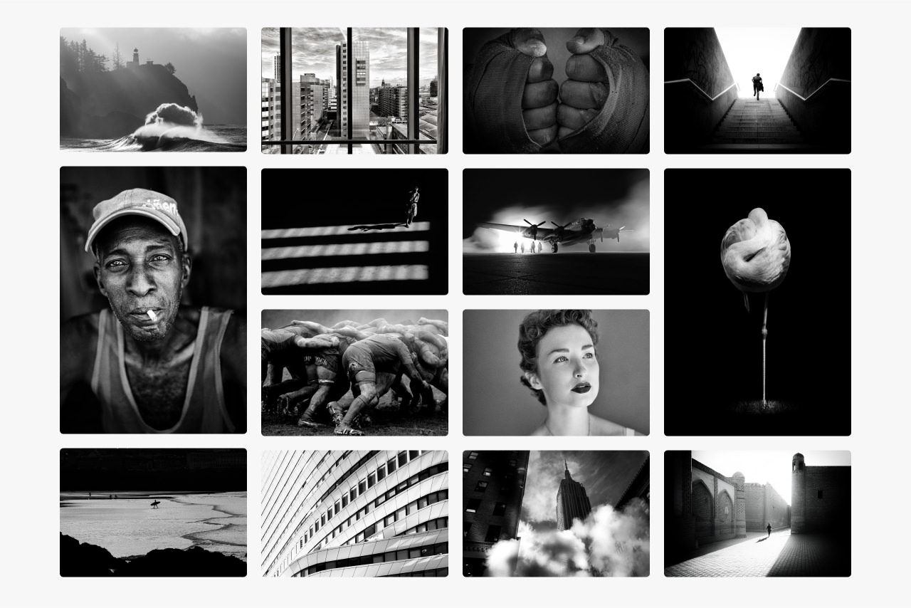 Montage of images showing different tonal ranges in black and white photography