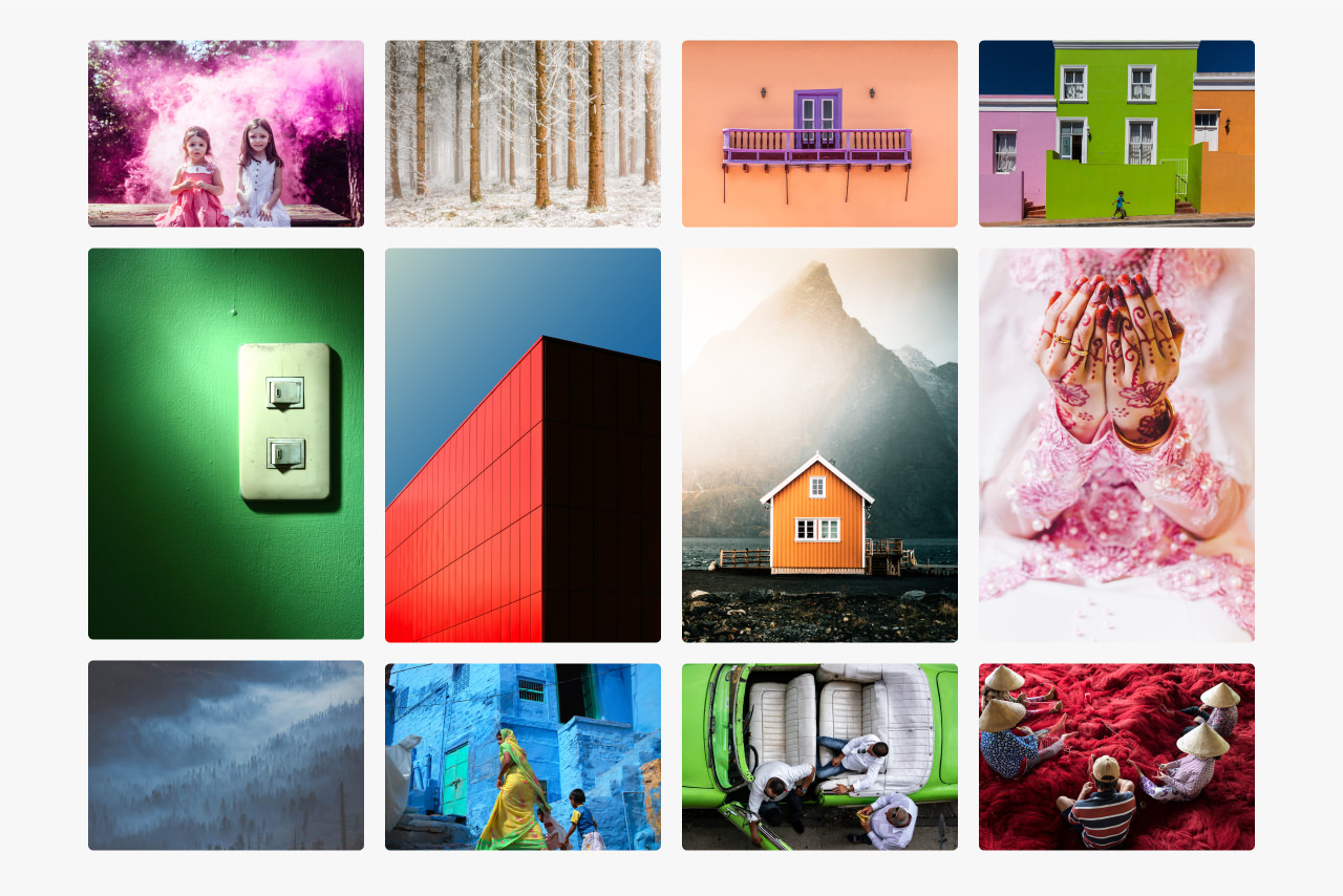 Montage of images that feature prominent colours