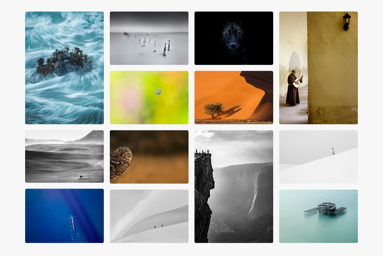 Montage of images that feature space in their compositons