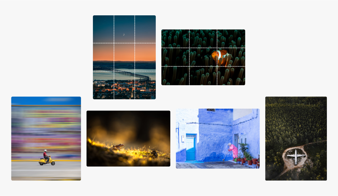 Montage of images showing photographs cropped using the rule of thirdsh