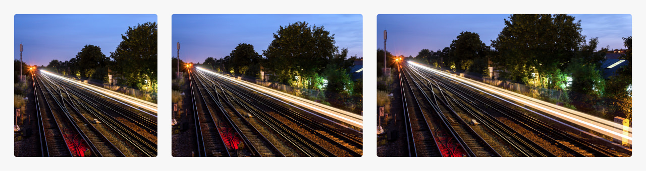 Railway lines at Wimbledon, London with different crop aspect ratios