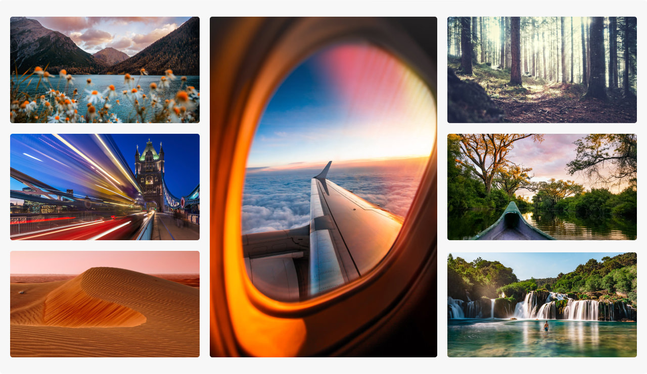 Montage of images with the theme of wanderlust