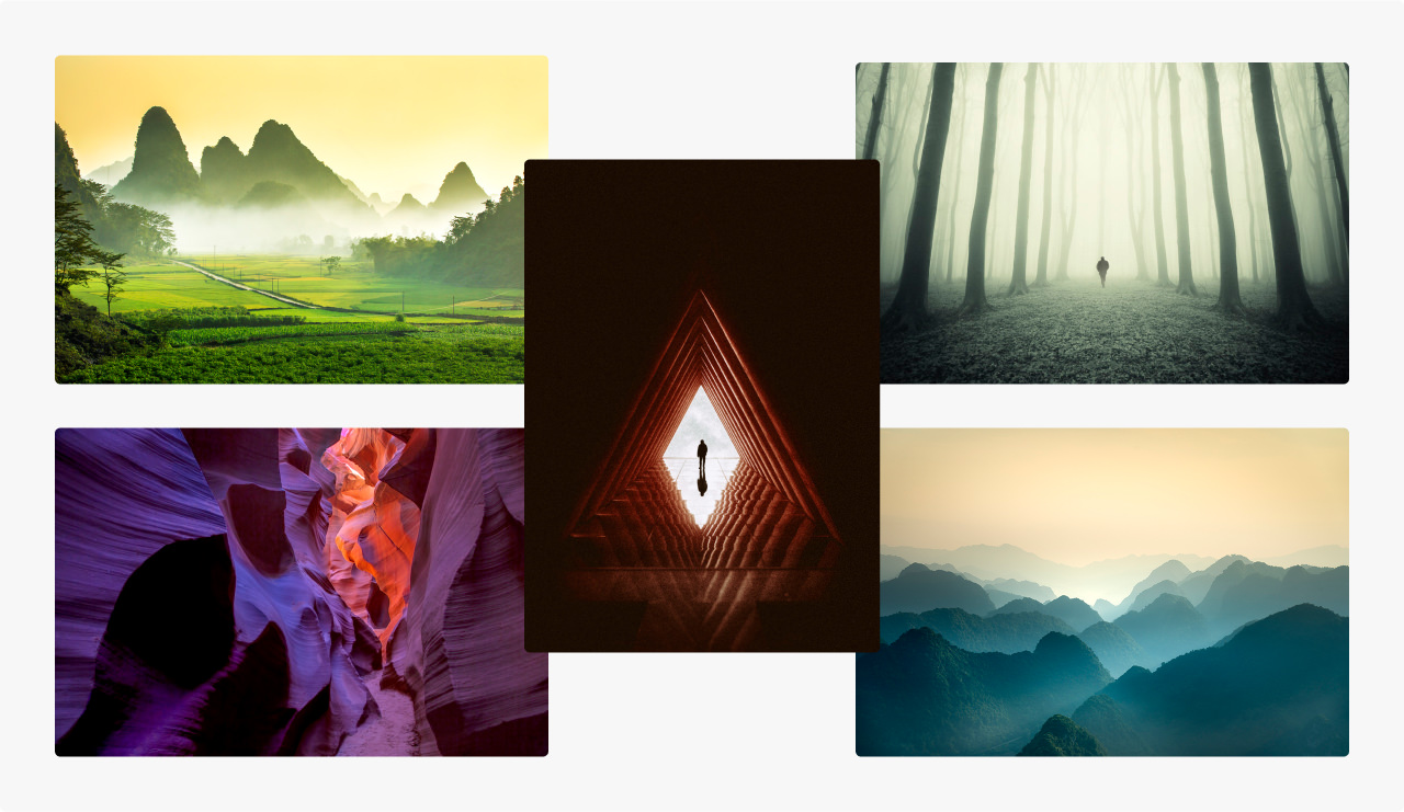 Montage of images with the theme of escapism