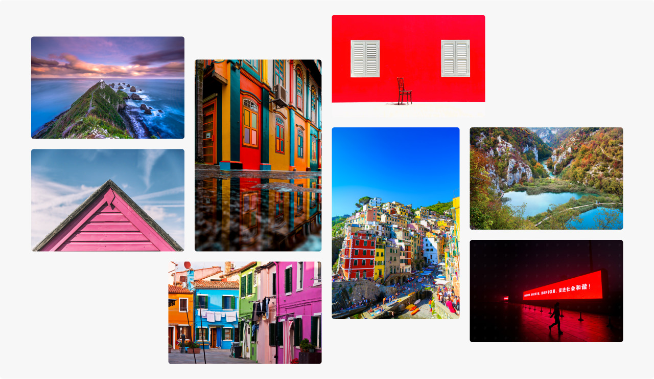 Montage of images with vivid dominant colours for wall art