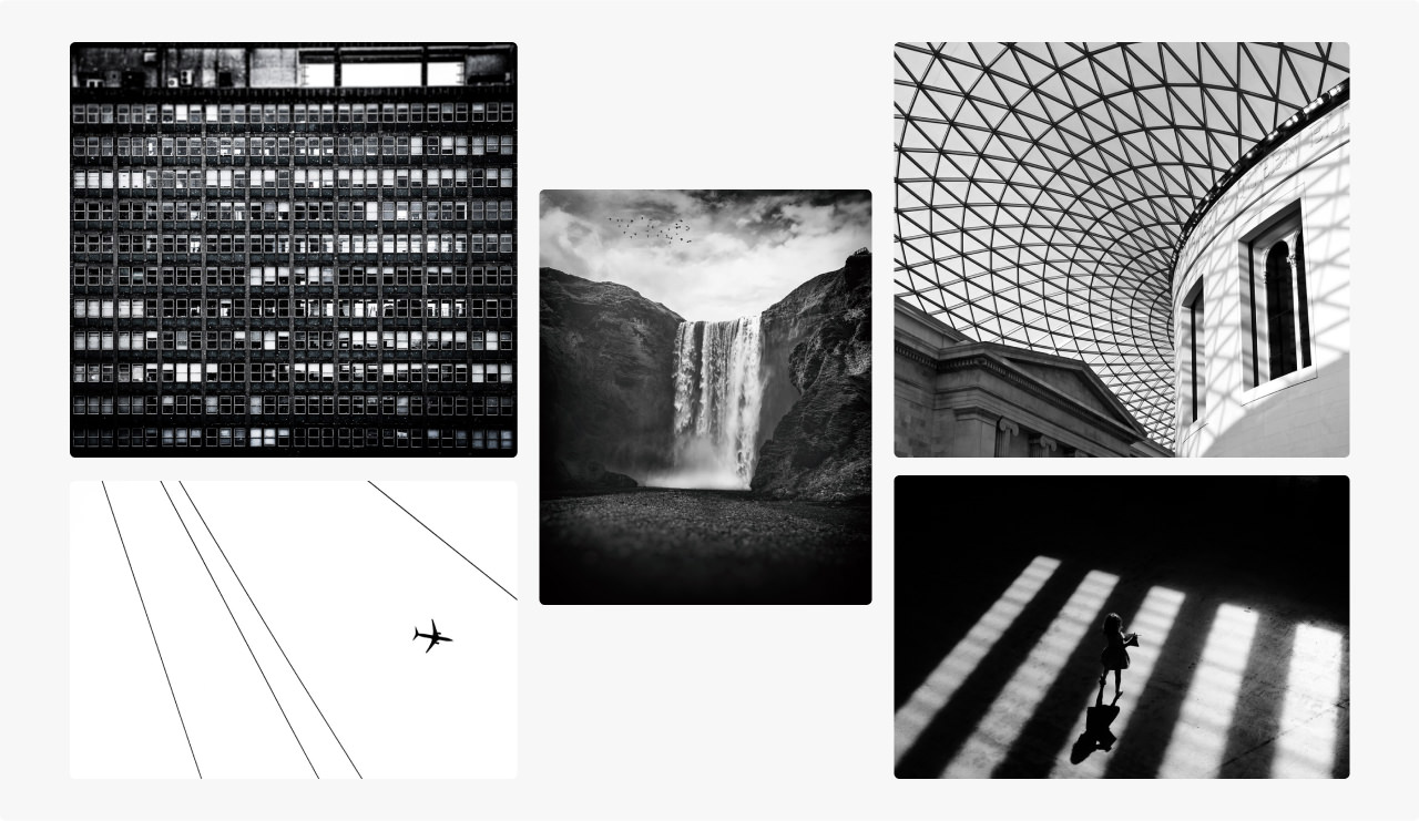 Montage of images of black and white photography