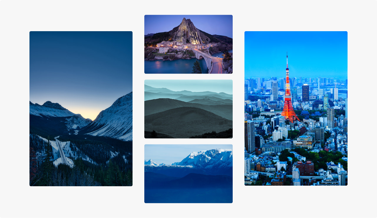 Collection of images photographed during the blue hour