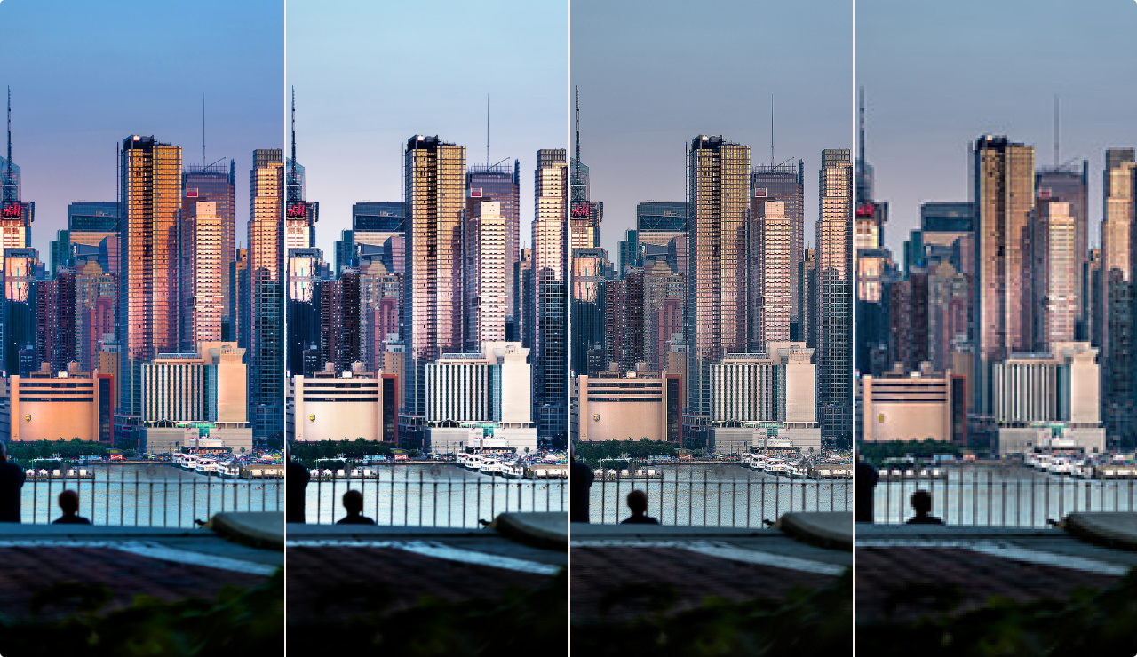 Examples of how over-saturation, over-contrast, over-sharpening, and over-compression can affect quality.