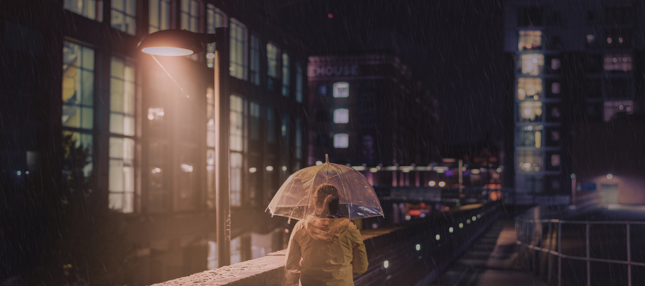 A rainy night Manchester, shot in a cinematic style