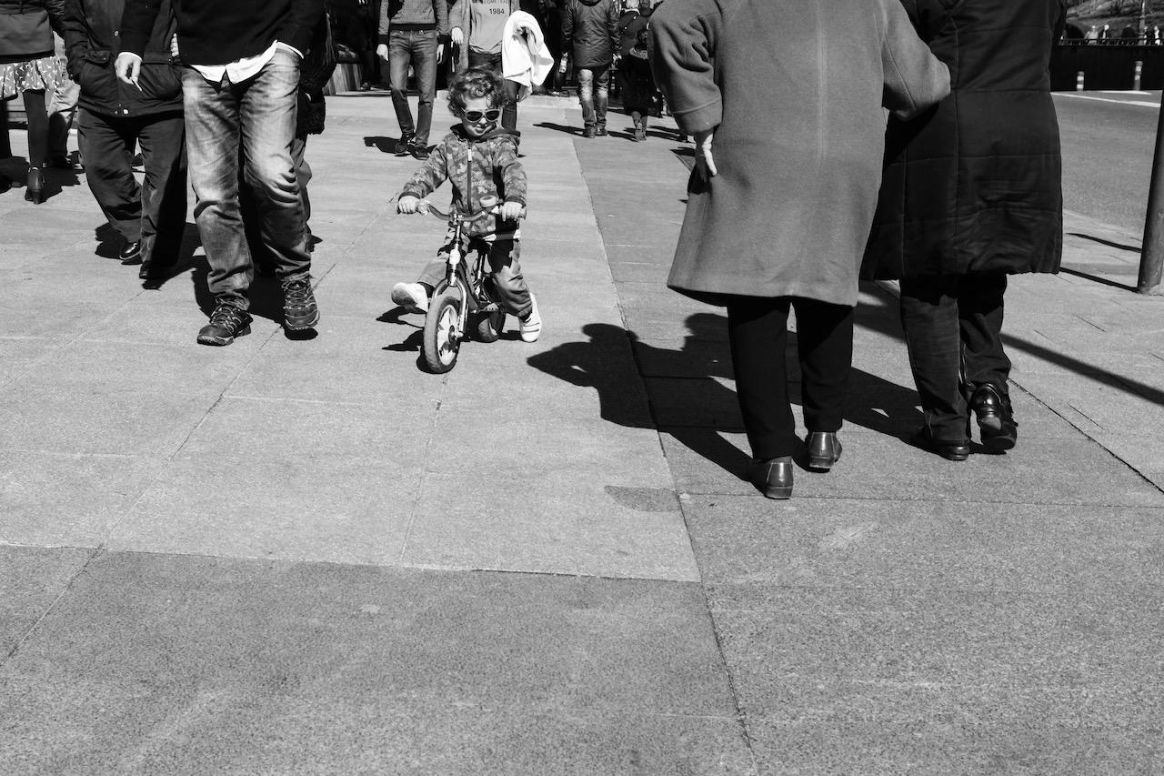 Street scene from a child's eye level