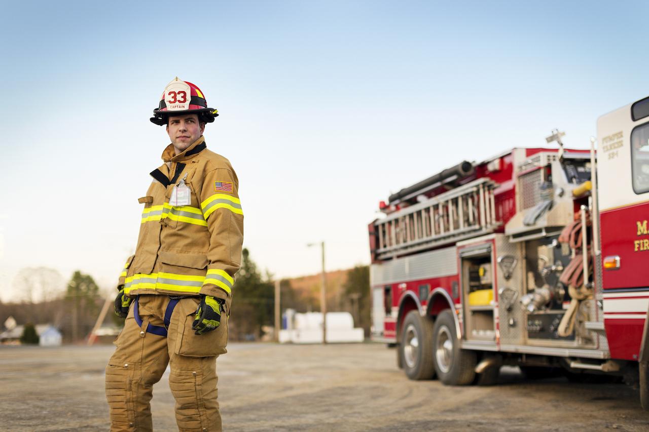 Cinematic shot of a fireman