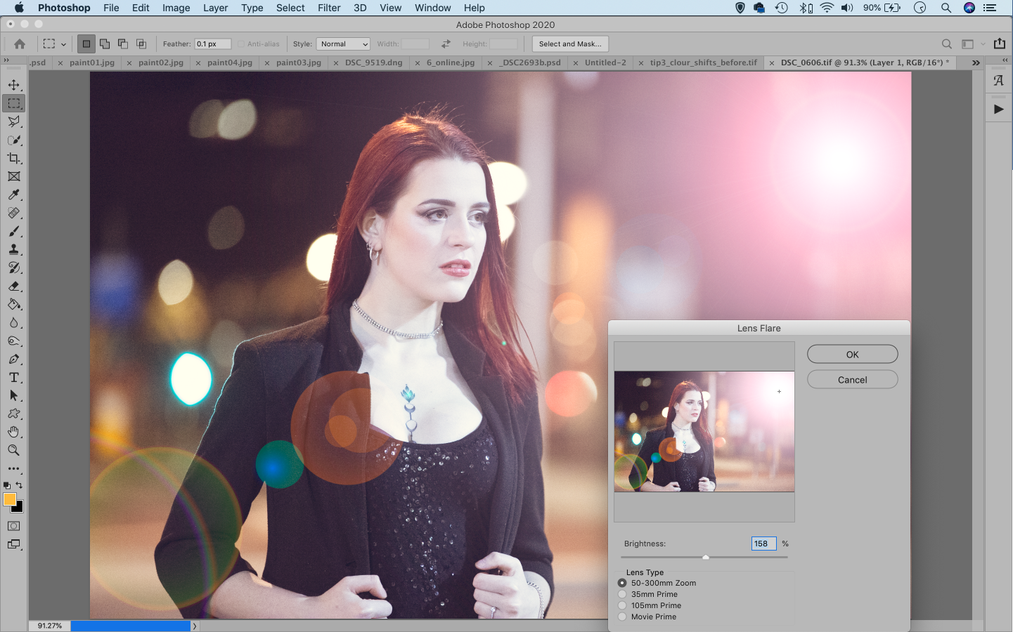 Screenshot showing added lens flare in Adobe Photoshop