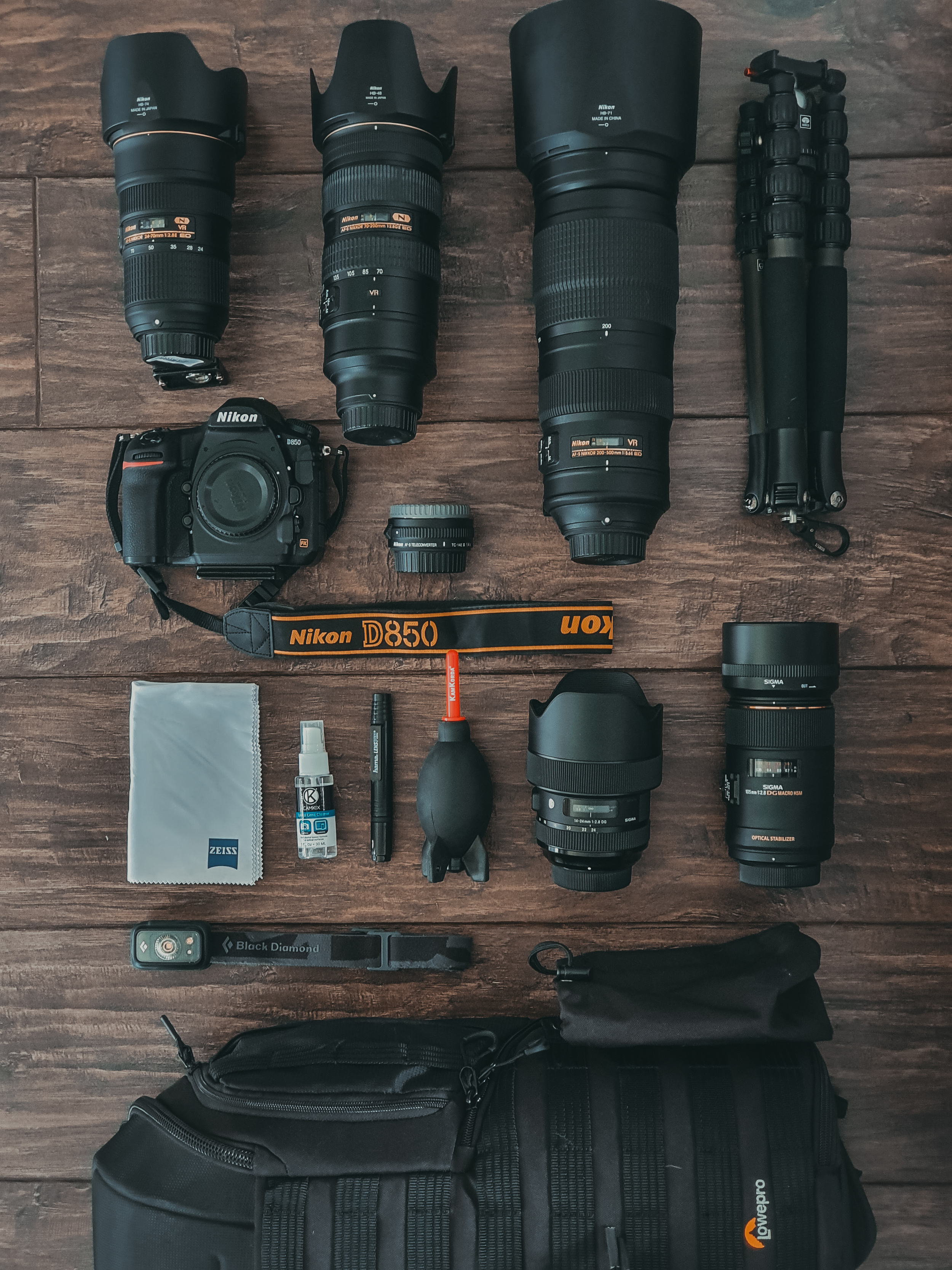 A flat lay of a camera bag and it's equipment