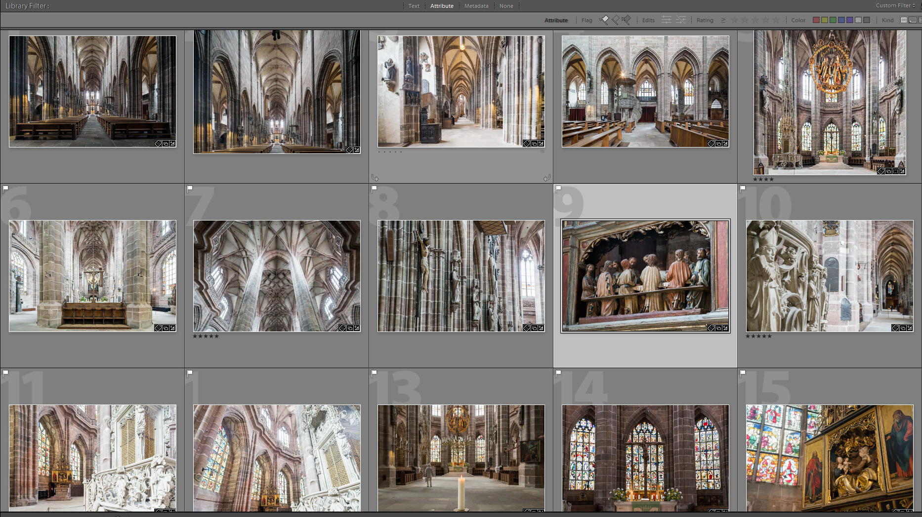 A screenshot of a folder of images from a church, as seen in Lightroom.