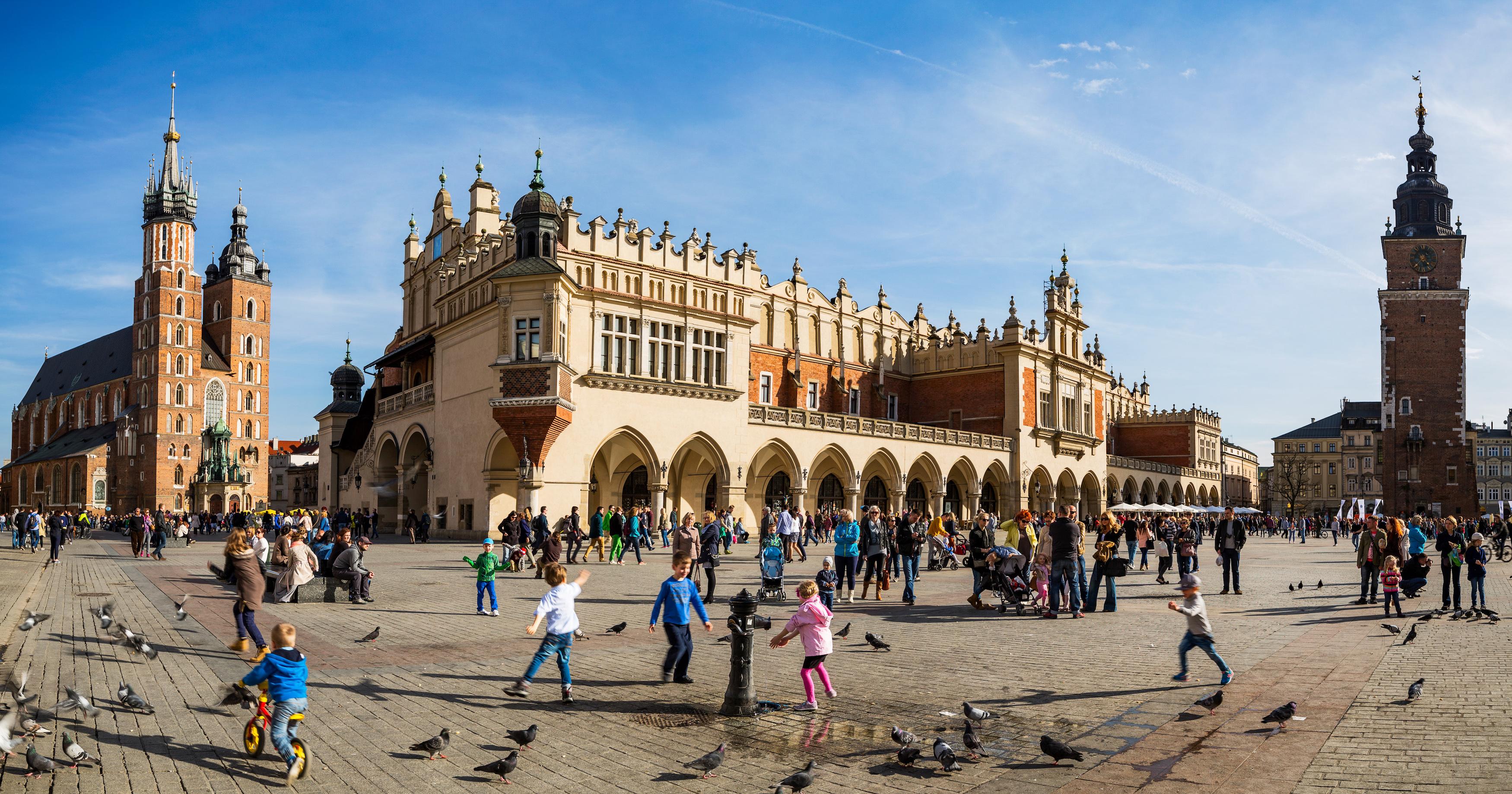 The Rynek in Krakow, Poland.