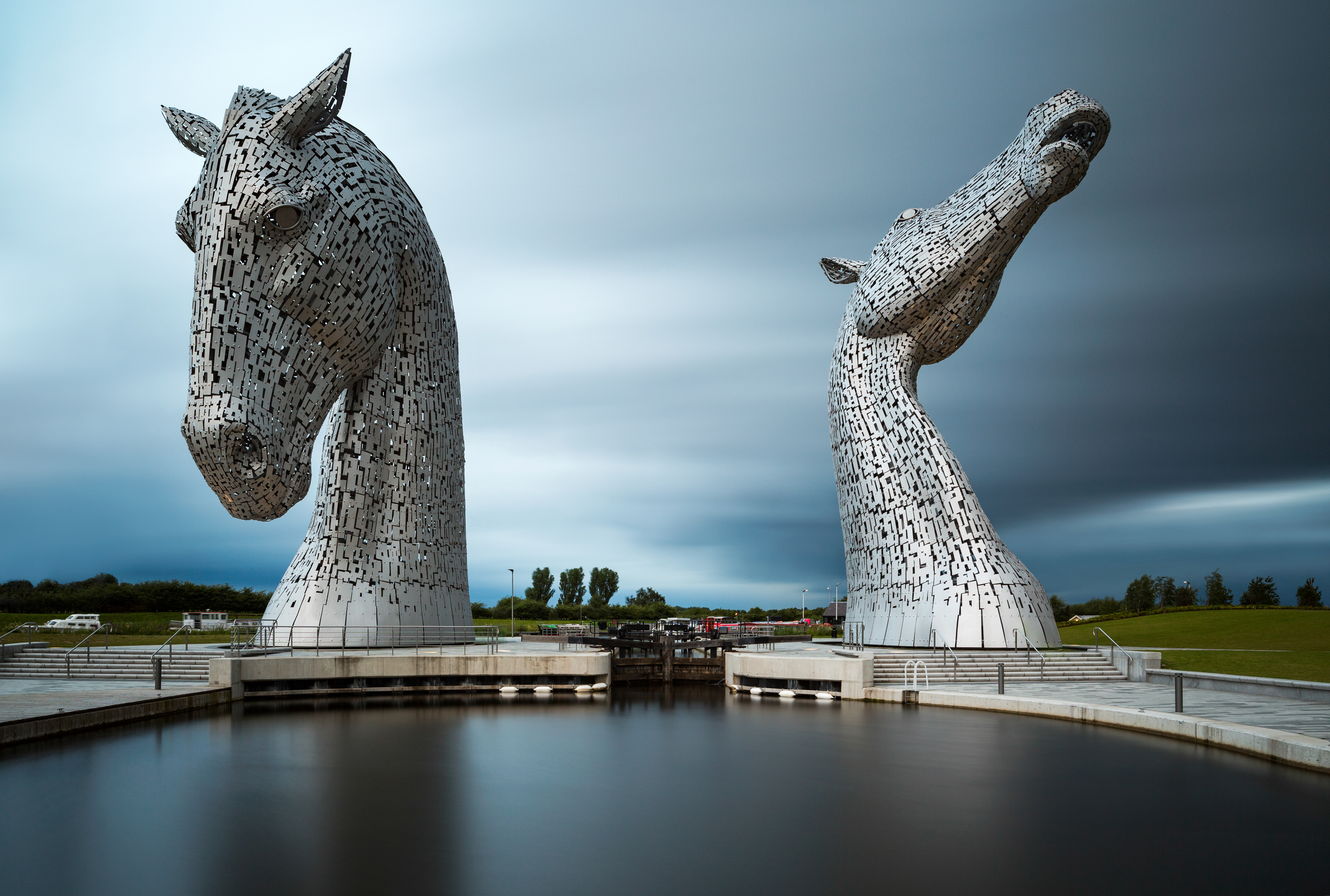 The Kelpies, Scotland, on an overcast day, long exposure.