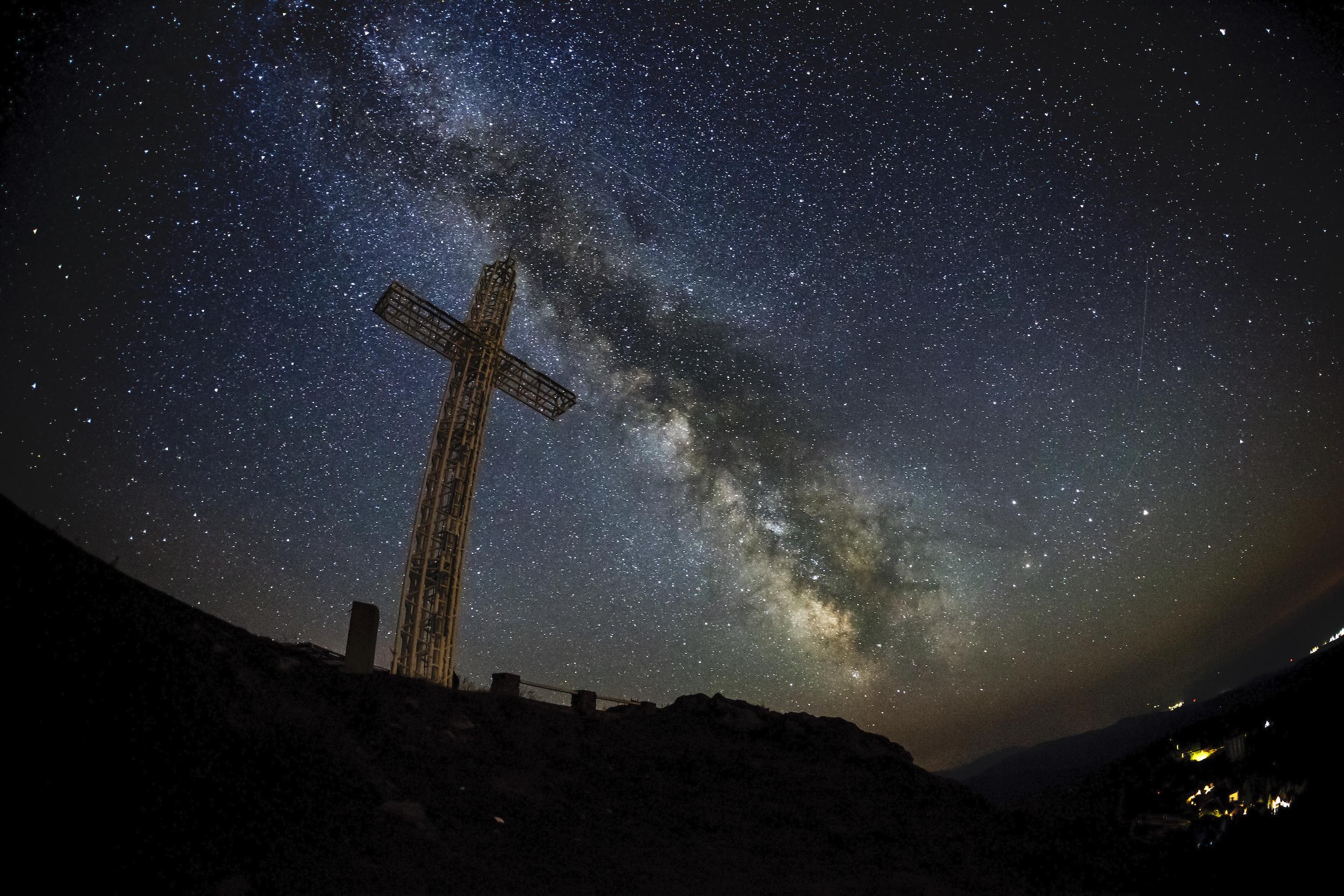 The Milky Way over Monumentul Eroilor Bănățeni, Romania.