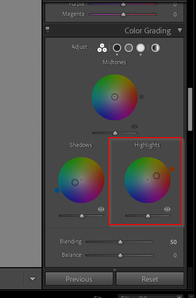 Screenshot from Lightroom showing the color grading panel