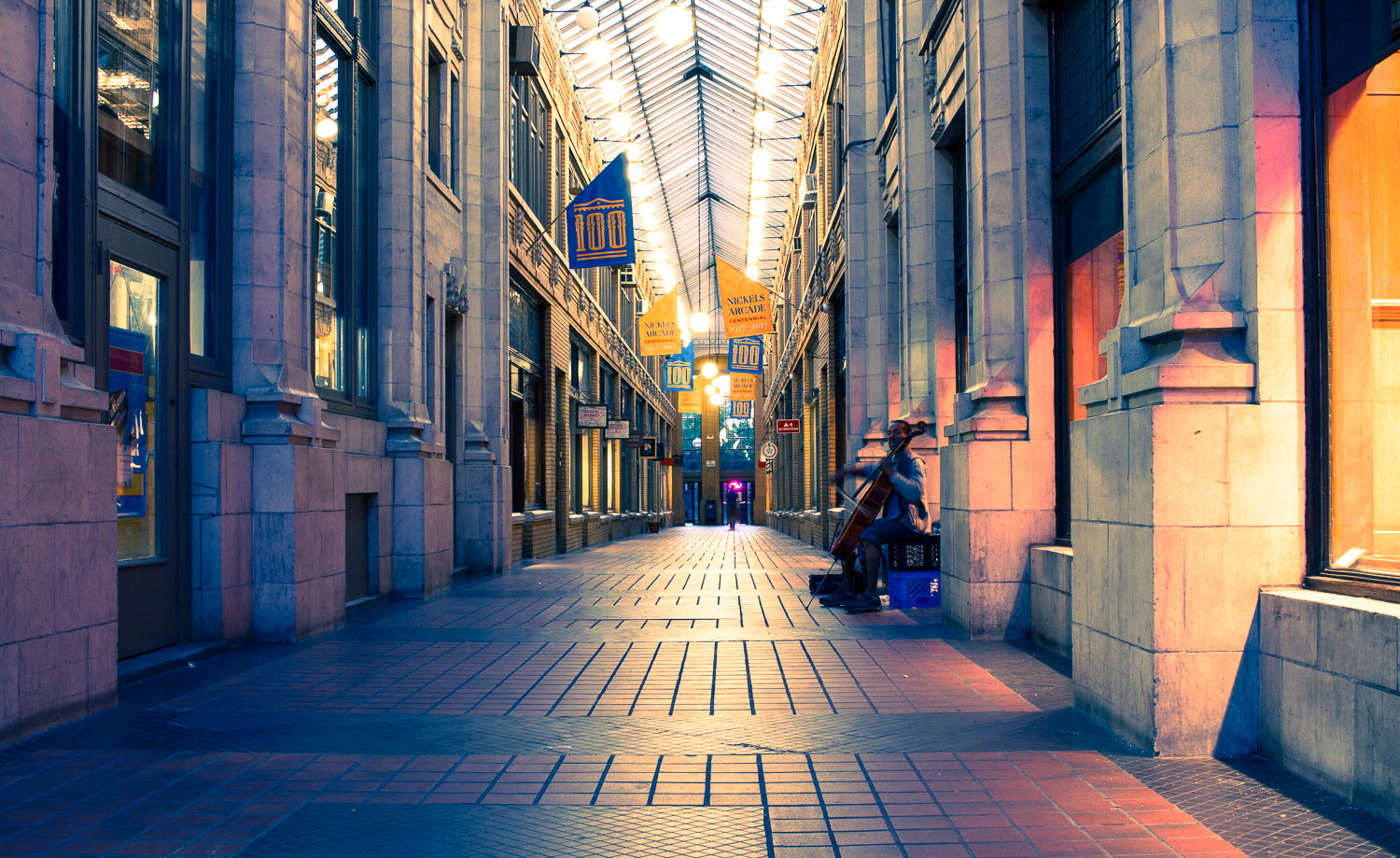A shopping arcade with the split toning effect applied to the photo